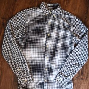 Men's J Crew Oxford Gingham Navy Shirt XS